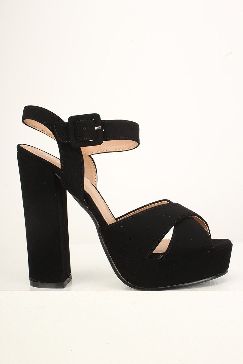 00cdc48054 Sexy Black Peep Toe Platform Chunky High Heels Faux Suede ...