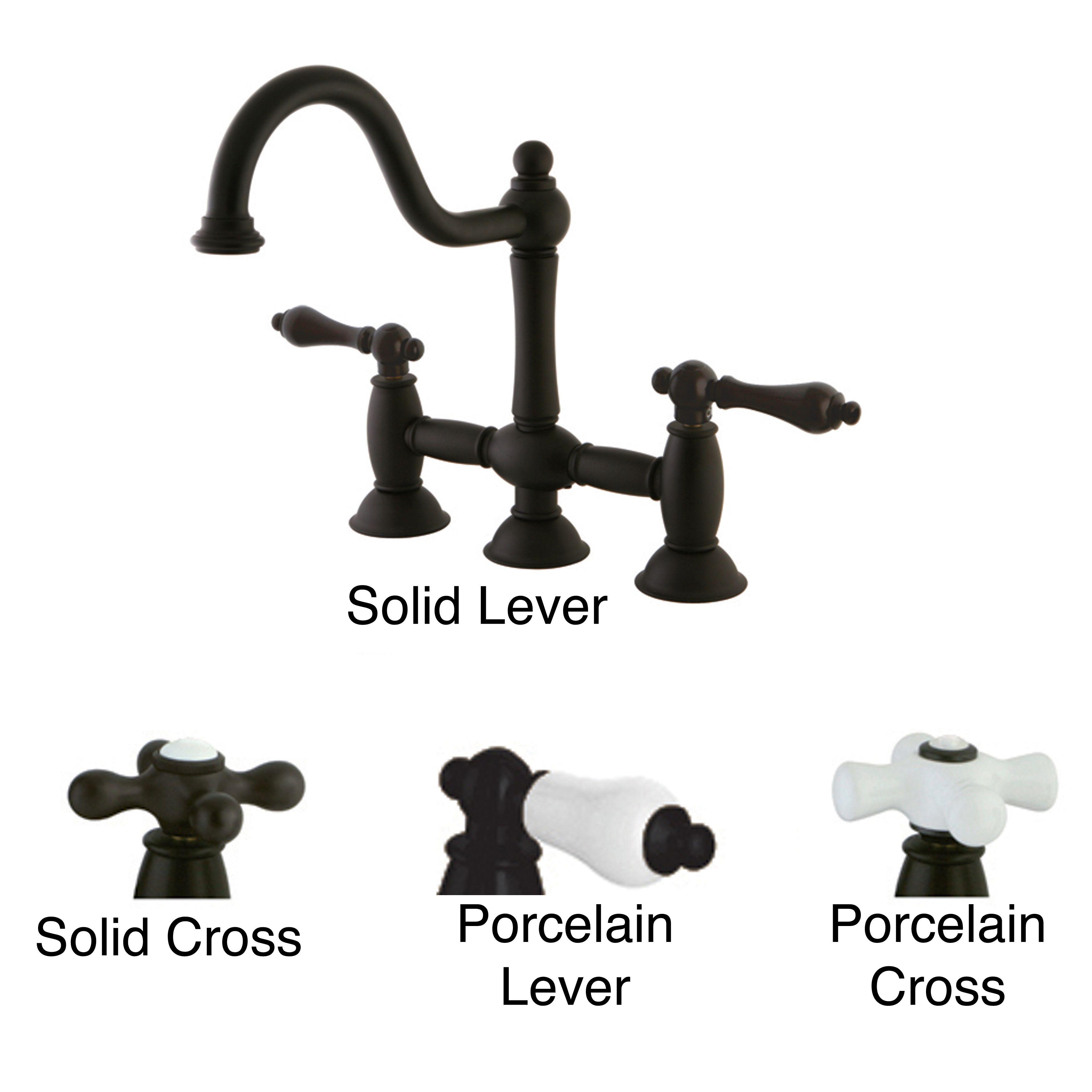 Victorian High Spout Oil Rubbed Bronze Bridge Kitchen Faucet by