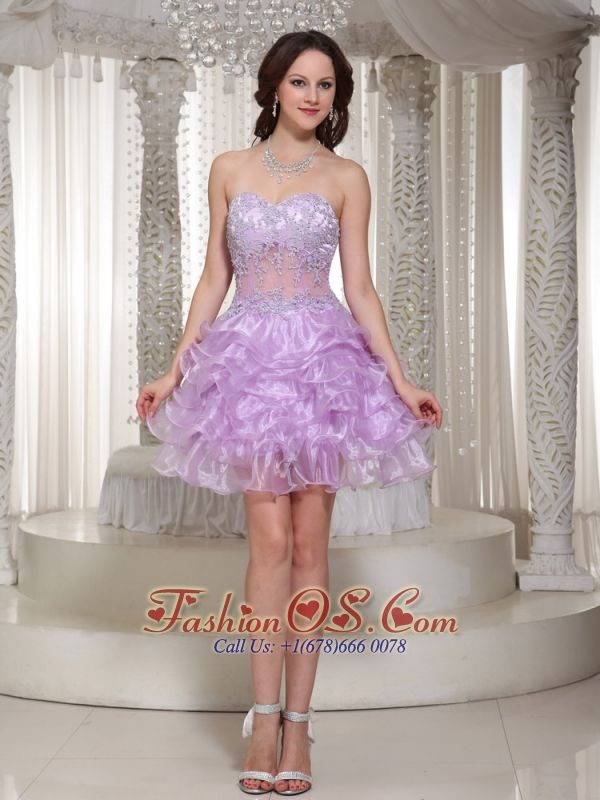 Sexy Beaded Decorate Cocktail Dress With Sweetheart Mini-length Organza  http://www