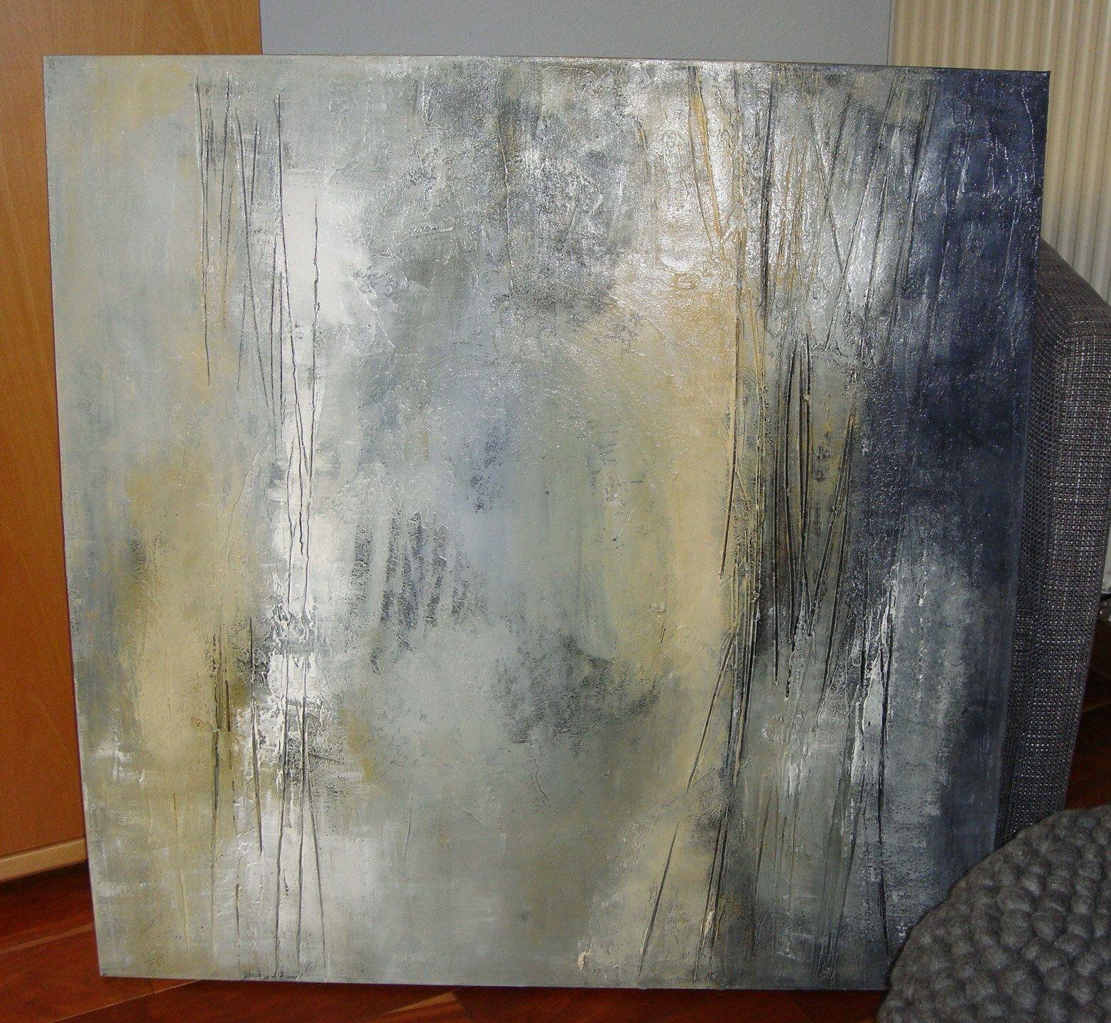 abstract image 90 x cm acrylic painting warm colors canvas riginal grey blue yellow beige handmade picture with structure acrylbilder abstrakt grau abstraktes bild kaufen
