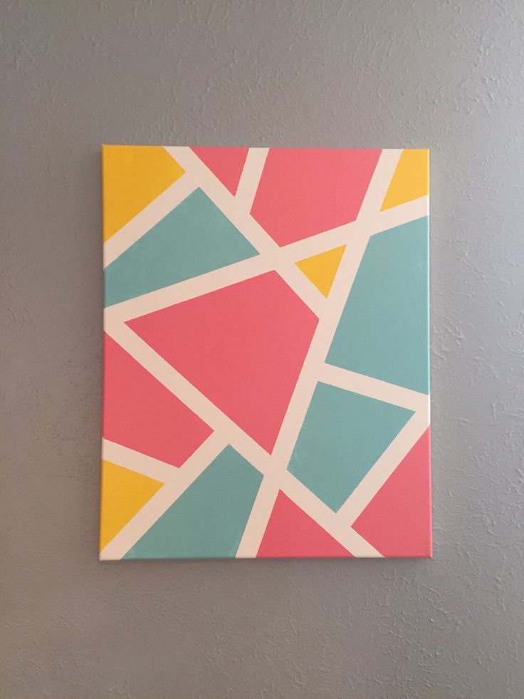 Original Acrylic Geometric Art by TaylorJosephArt on Etsy www etsy com is part of Easy canvas art, Kids canvas art, Painters tape art, Canvas painting diy, Cute canvas paintings, Canvas art -     Original Acrylic Geometri