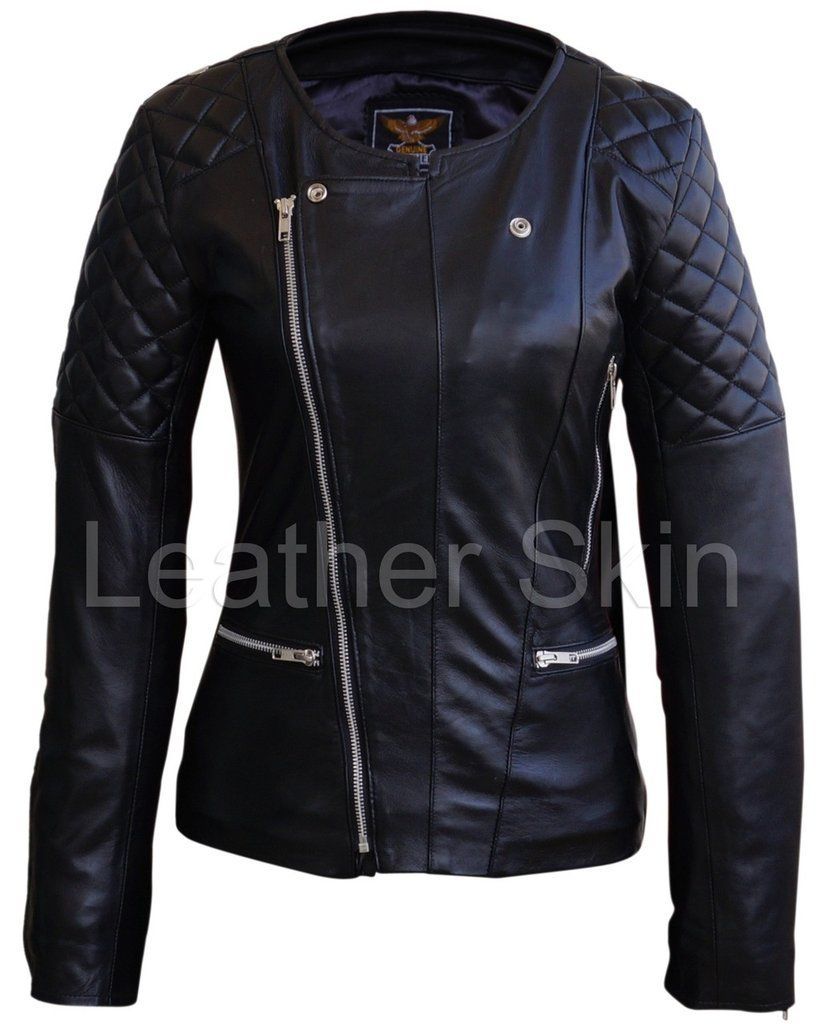 28c0feef9 Leather Skin Women Black Brando Quilted Padded Genuine Leather ...