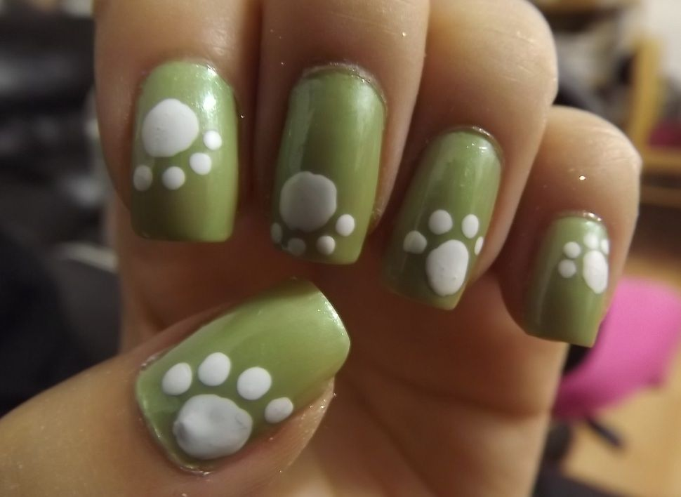 69 best doggy nail art images on pinterest dog nails dogs and cute green and white puppy dog paw nail art design idea prinsesfo Image collections