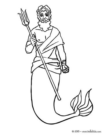 King Triton With Is Trident Coloring Page Coloring Pages