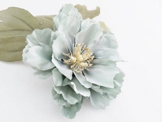 Blue Peony & Leaves | Silk Flower Set | Flower Crown | Millinery Flowers | Bridal Crown | Corsage Fl #bluepeonies