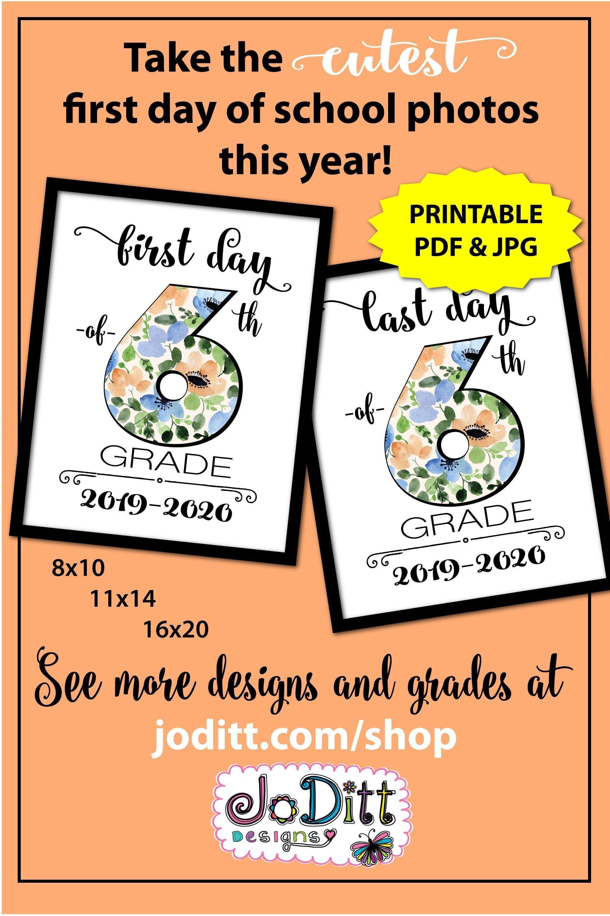 Back to School Sign 6th Grade, First Day of School Sign Printable, First Day of Middle School Sign, 1st Day of School Sign, Photo Prop
