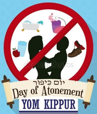 Forbidden Symbol With Prohibitions On Yom Kippur And Scroll Yom