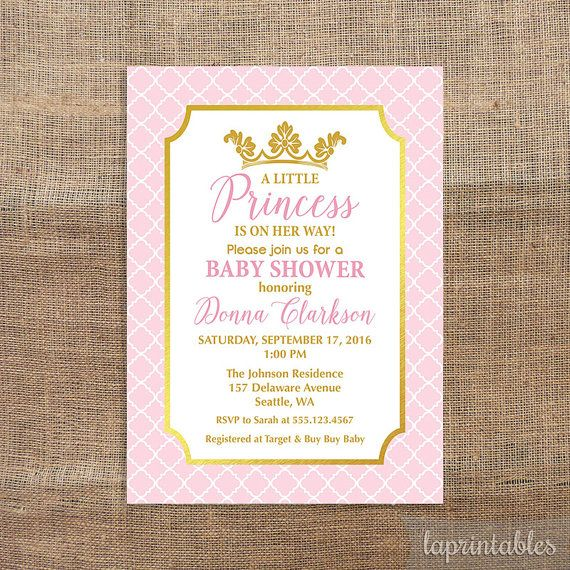 Princess Baby Shower Invitation Pink & Gold Baby by laprintables