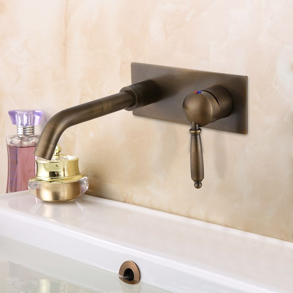Classic One Handle Solid Brass Wall Mount Bathroom Sink Faucet With Swivel Spout In Antique Brass In 2021 Basin Mixer Taps Bathroom Basin Mixer Taps Wall Mount Faucet Bathroom Sink