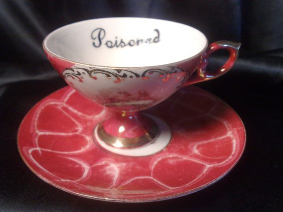 hand painted vintage coffee cups humor bizarre strange, sell single cup POISONED