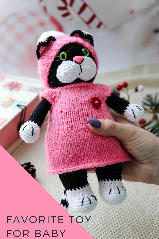 Tuxedo cat Toy for 1 year old Kitten baby shower Organic
