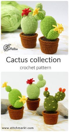 Cactus Crochet PATTERN Amigurumi cactus DIY tutorial crochet Cacti pattern Amigurumi cacti tutorial DIY crochet cactus Amigurumi tutorial