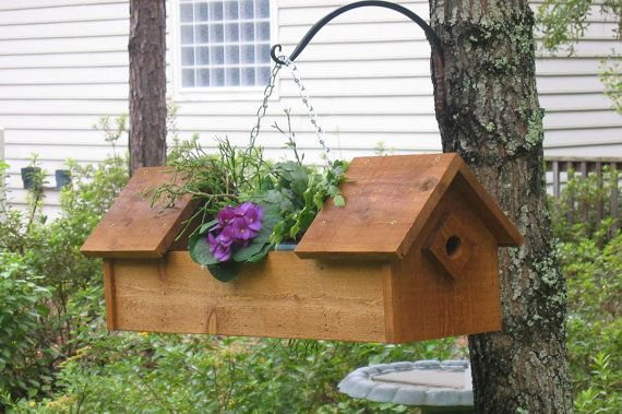 Birdhouse Planter Etsy Handmade Birdhouses Bird Houses Rustic Bird Feeders