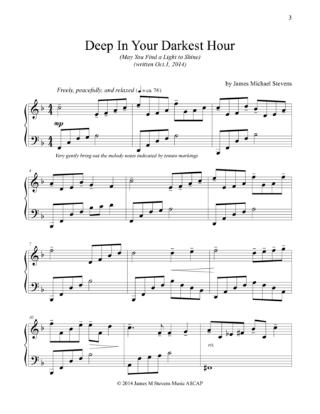 Download Deep In Your Darkest Hour May You Find A Light To Shine Sheet Music By James Michael Stevens Sk Sheet Music Composition Writing Digital Sheet Music