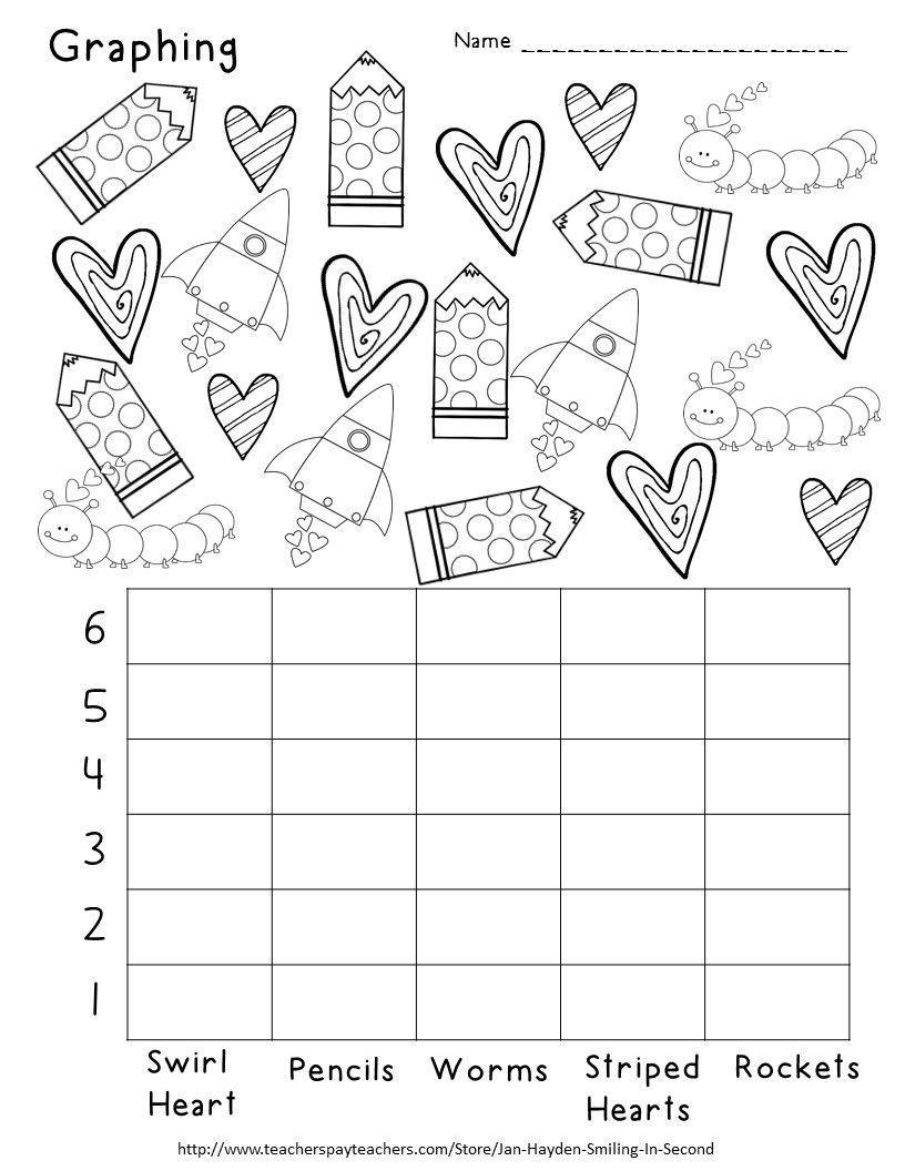 Valentine's Day Graphing   Valentine worksheets [ 1056 x 816 Pixel ]