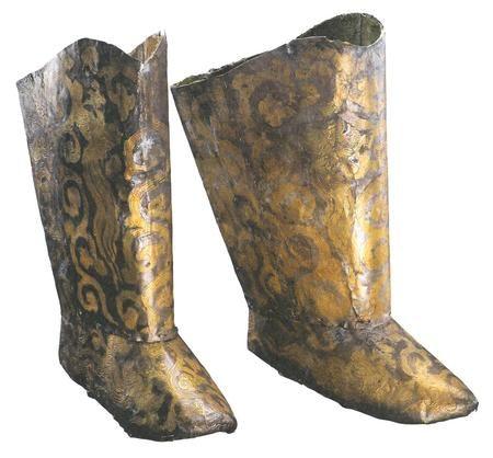 Vergulde zilveren laarzen uit het graf van de prinses van Chen.