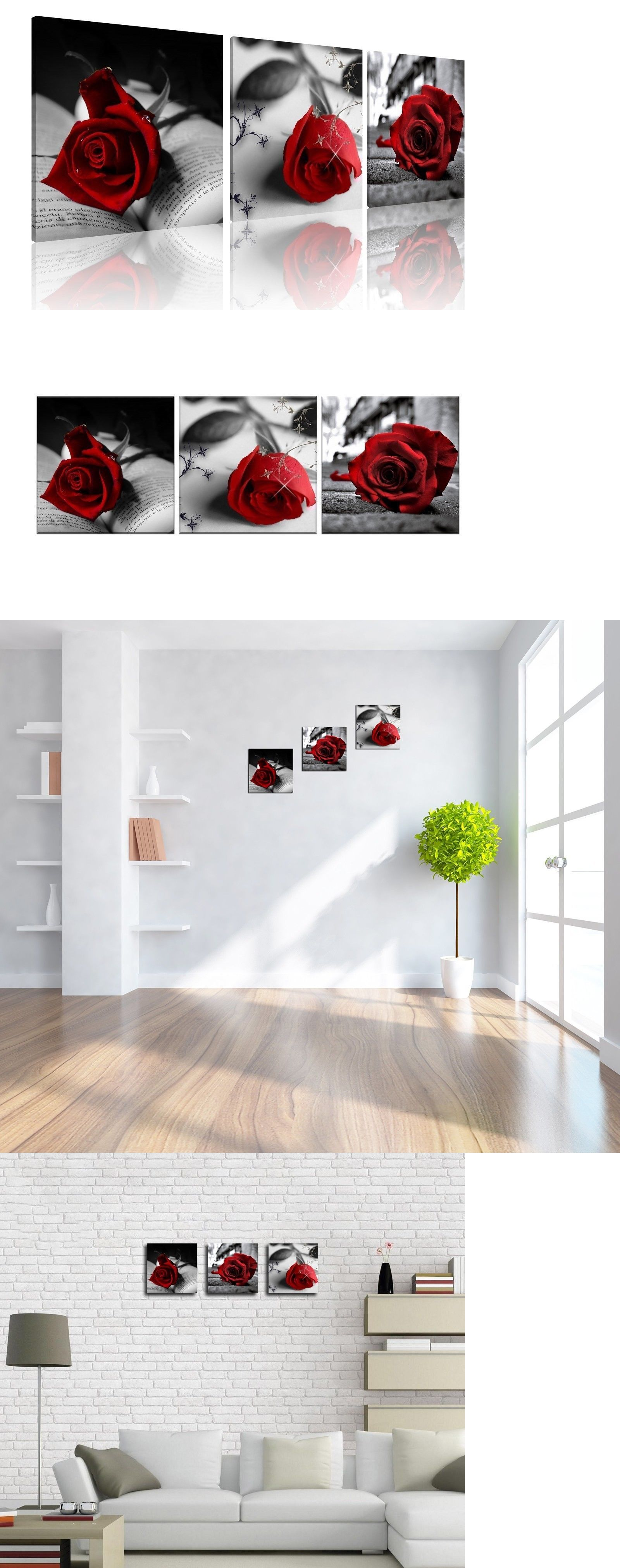 Posters and prints black and white red rose flower abstract
