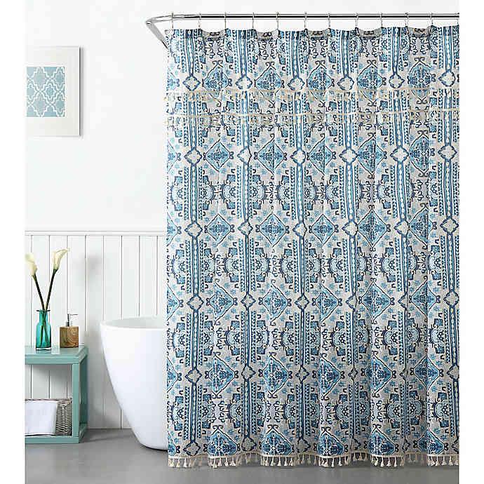 Peach Oak Tatum Shower Curtain In Blue Bed Bath Beyond In