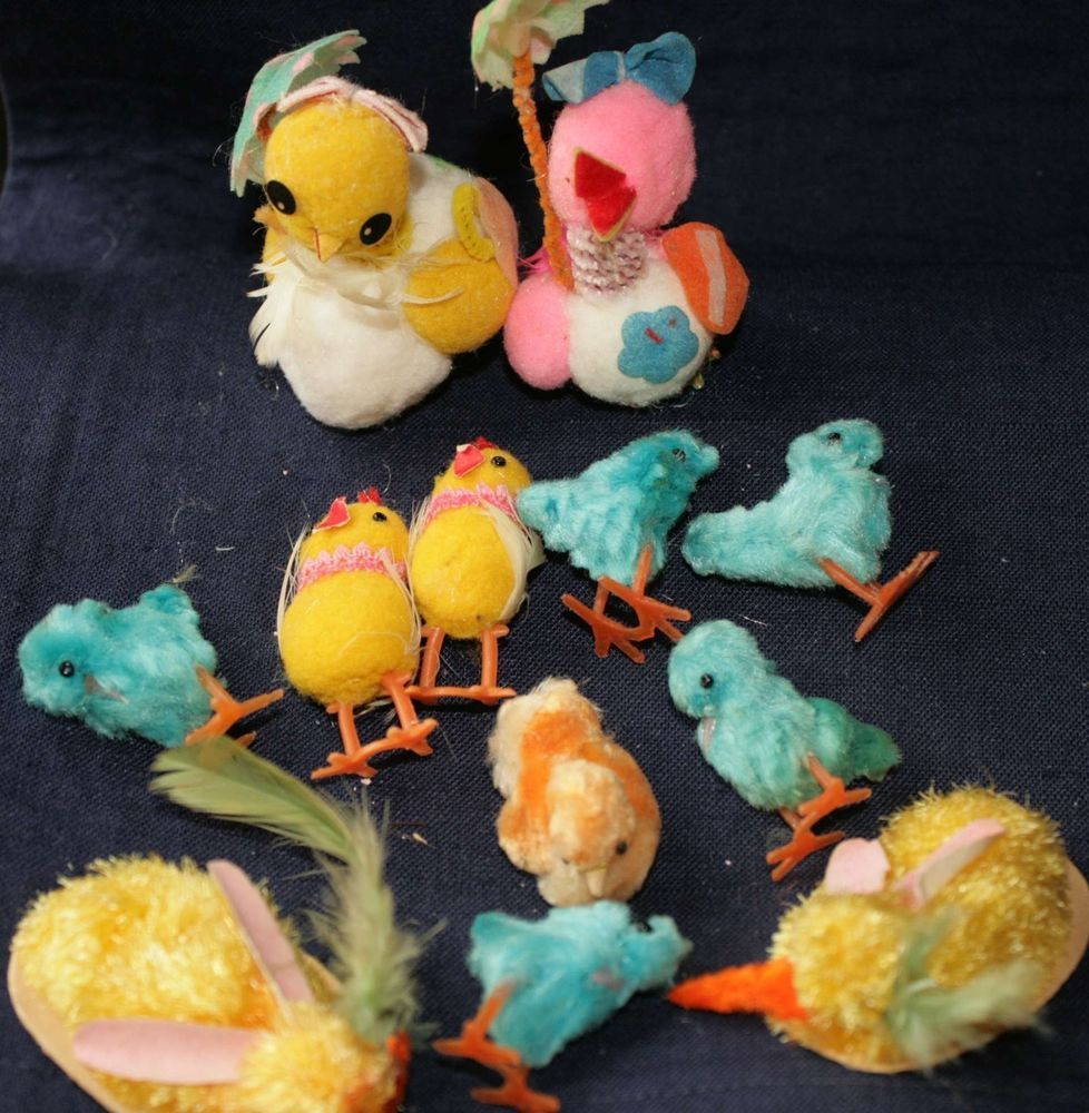 VINTAGE 13 CHENILLE SPUN COTTON SPRING EASTER CHICKS-RABBITS-PASTELS