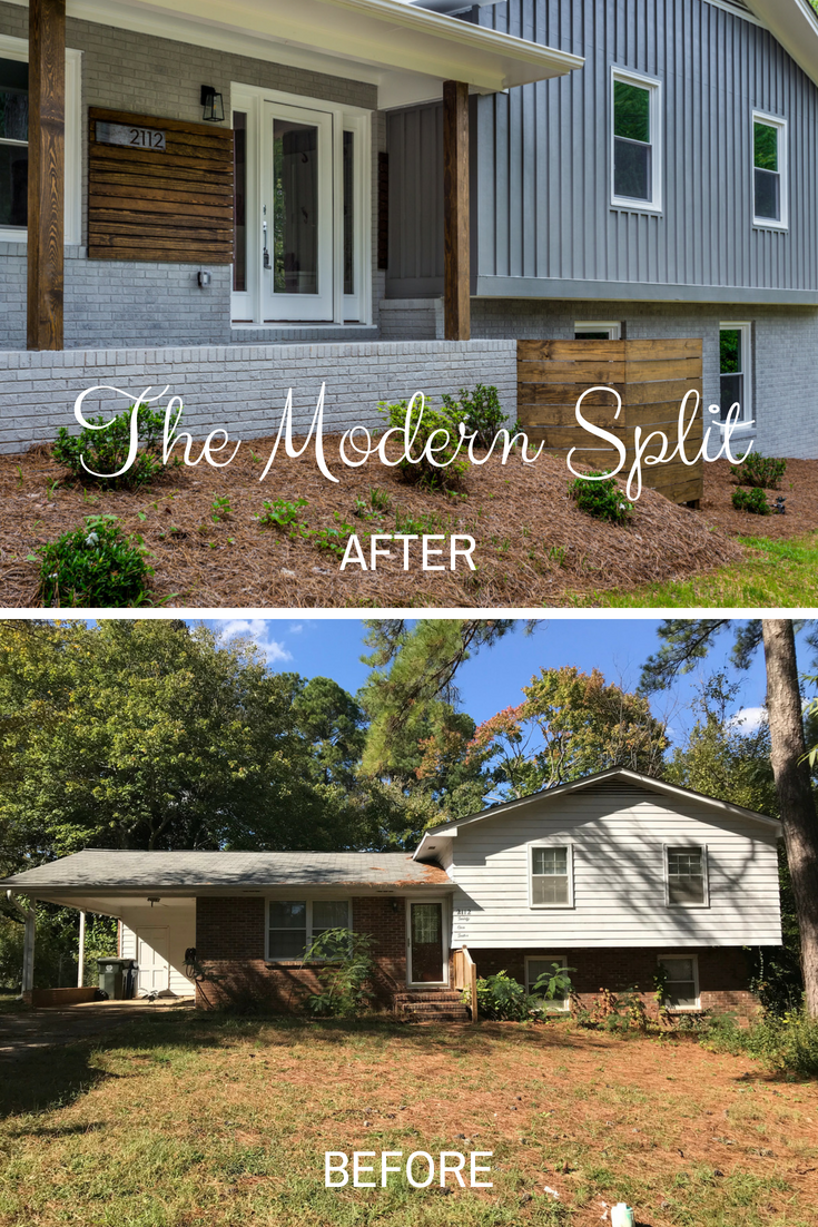 The Modern Split Flipping Houses In Raleigh The Inspiring Investment Exterior House Remodel Home Exterior Makeover Split Level Remodel Exterior