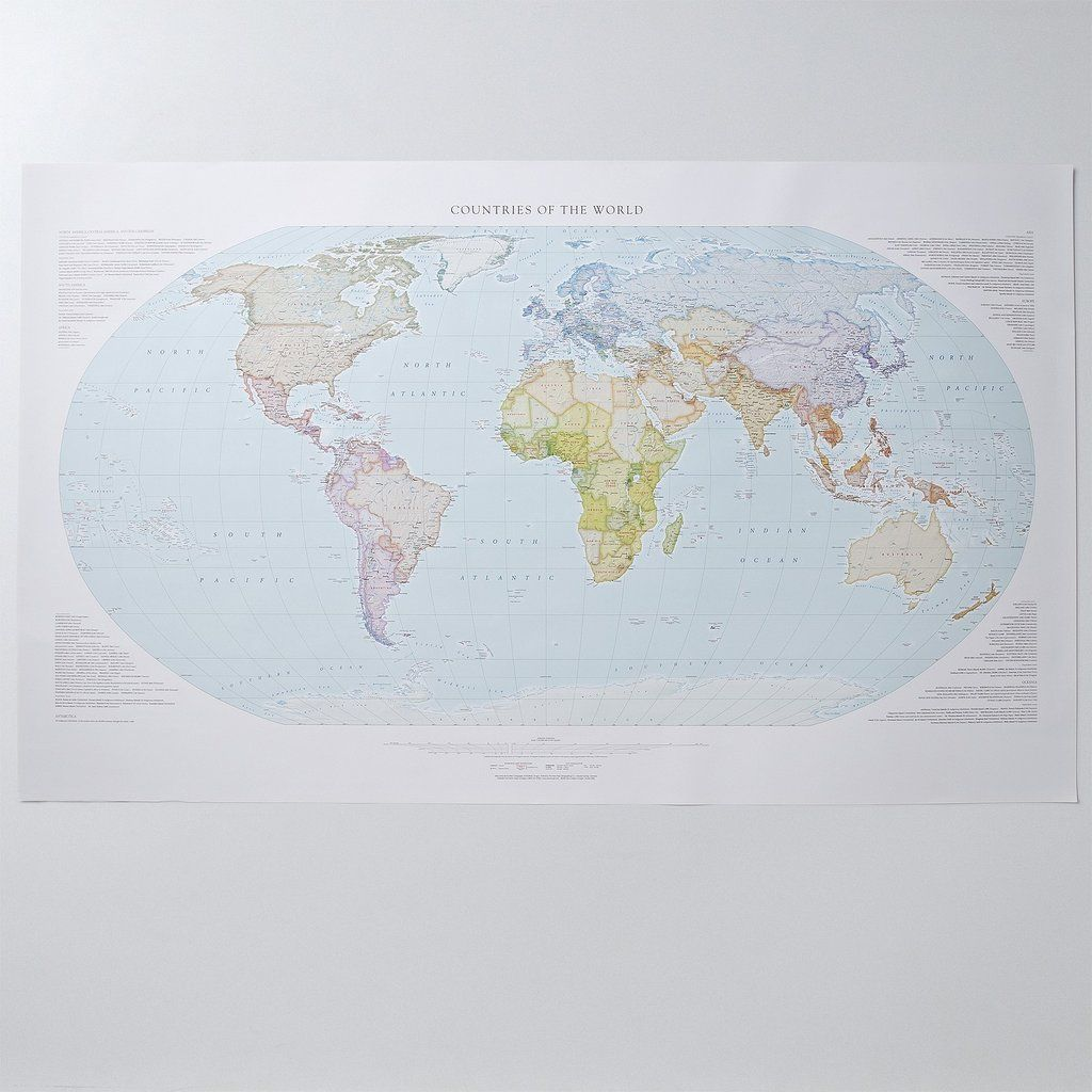 "Countries of the World Topographical Wall Map by Raven Maps 35/"" x 58/"""