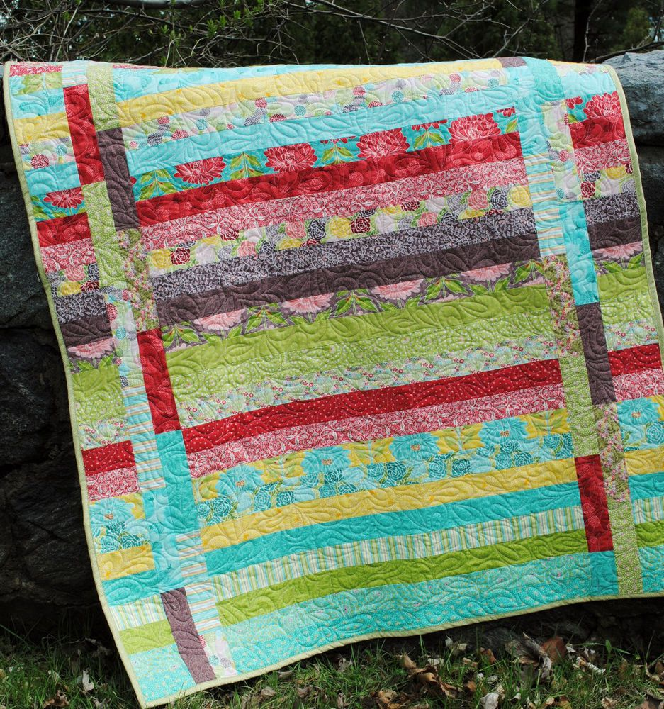 QUILT PATTERN Jelly Roll or Strip Quilt easy and quick, Sweet Jane pattern, fast