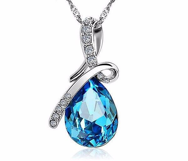 Blue Crystal Water Drop Pendant Necklace Plated Zircon Necklaces Link Chain