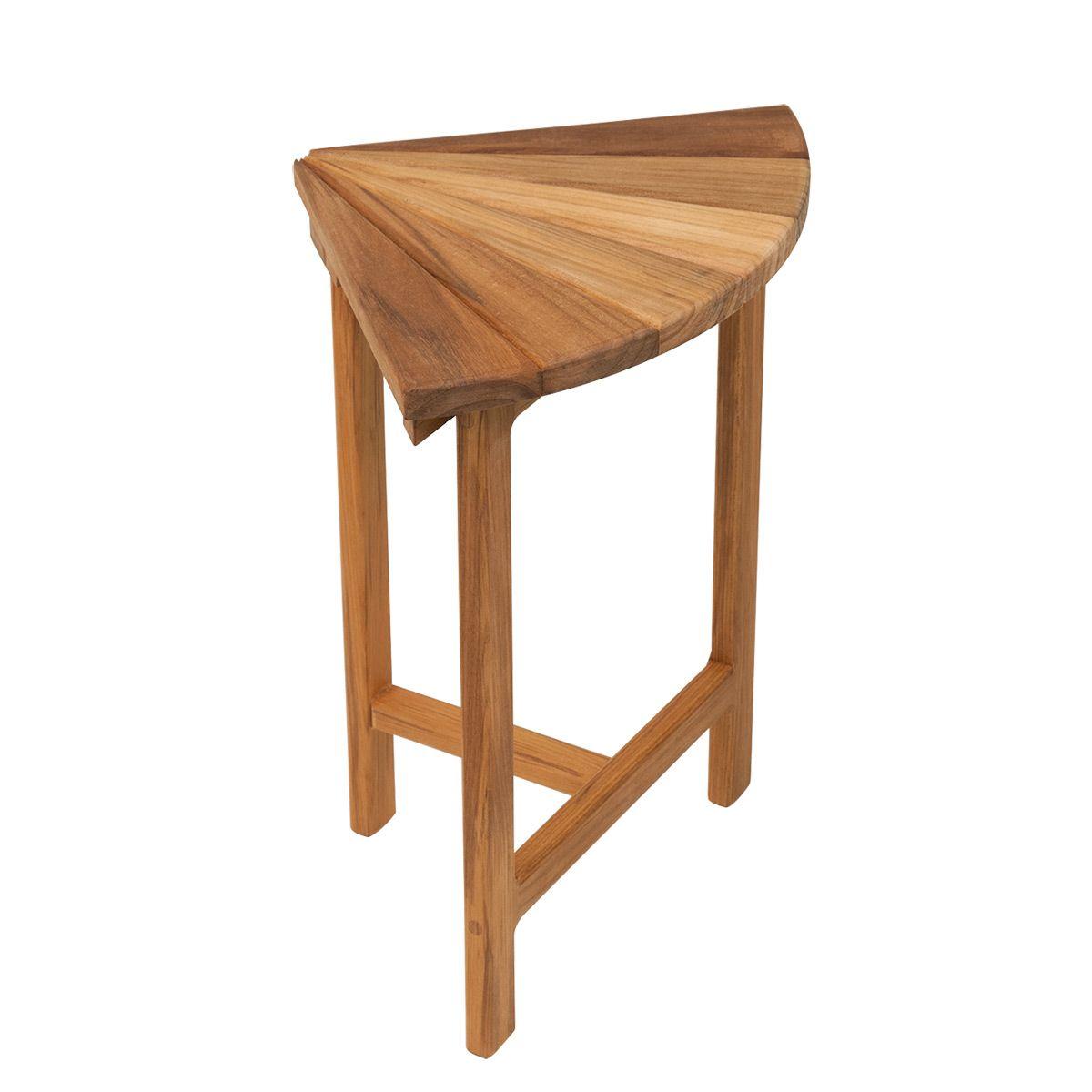 13 X 13 5 Teak Corner Shower Bench With Fan Design Top Teak
