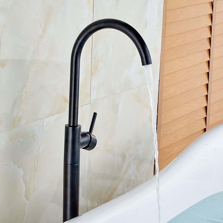 Votamuta Single Lever Floor Mounted Bathroom Tub Shower Faucet Free ...