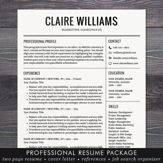 resume cv template free cover letter instant download mac or pc for word modern professional black the claire free cover letter template and