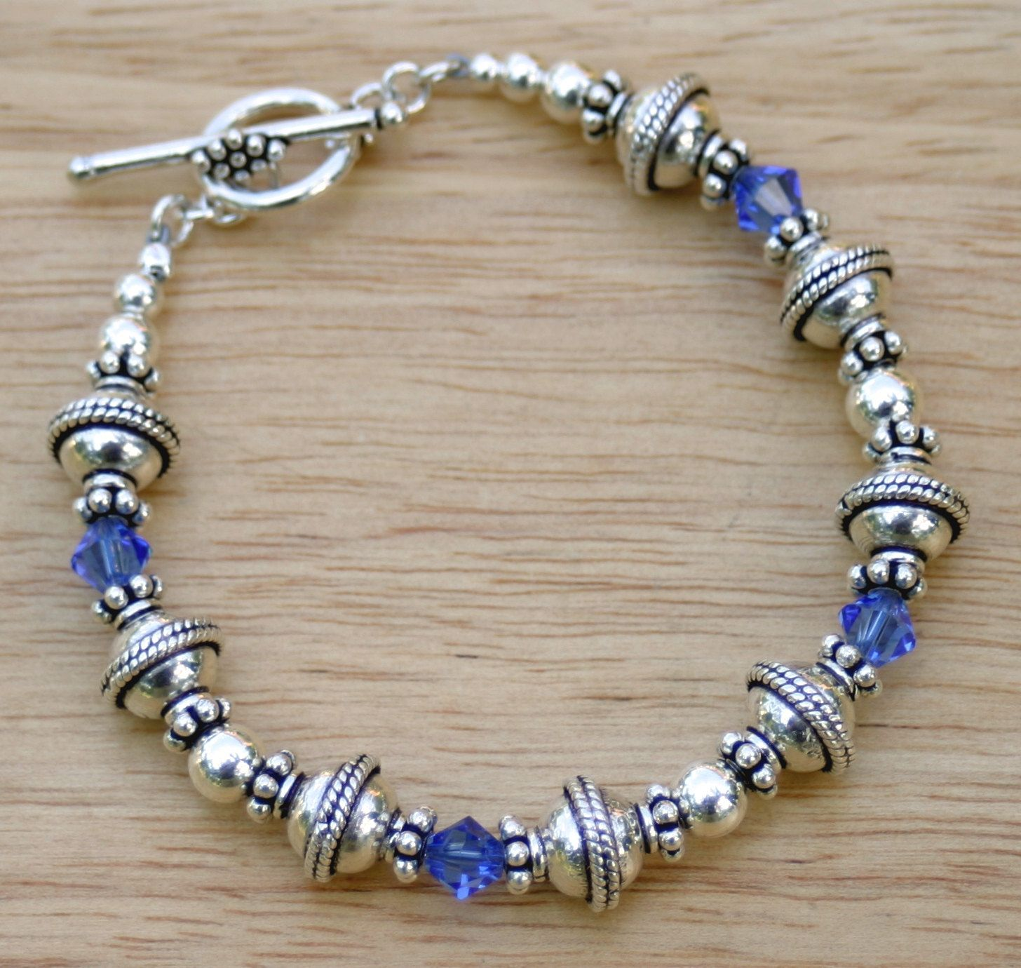 Swarovski Charm Bracelet: Royal Blue Swarovski Crystal Bracelet, Bali Beaded