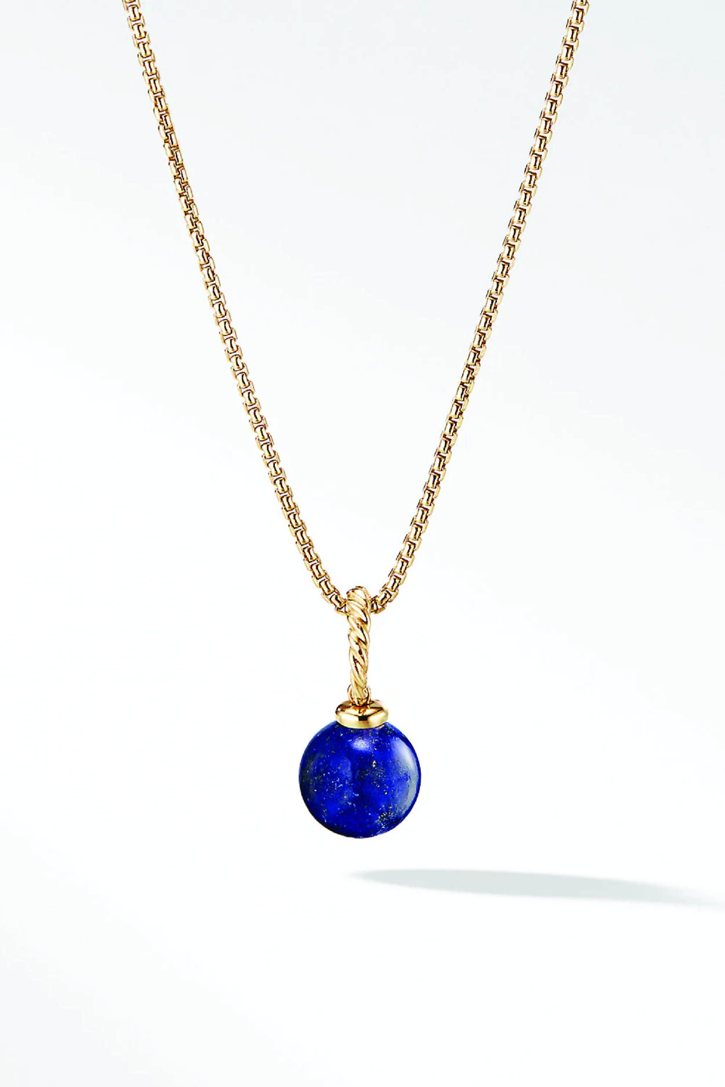 Lapis Drop Necklace set with ruby
