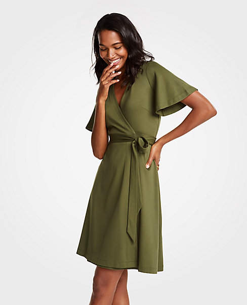 91ff8a59de Ann Taylor Petite Flutter Sleeve Wrap Dress