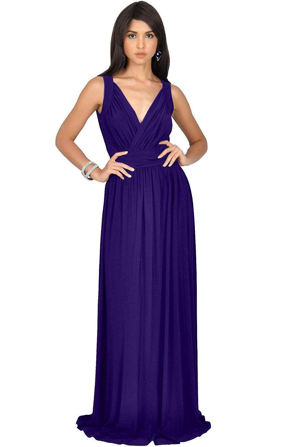 e1ccd334e4 KOH KOH Womens Long Sleeveless Flowy Bridesmaid Cocktail Evening Gown Maxi  Dress... More information can be located at the image url.