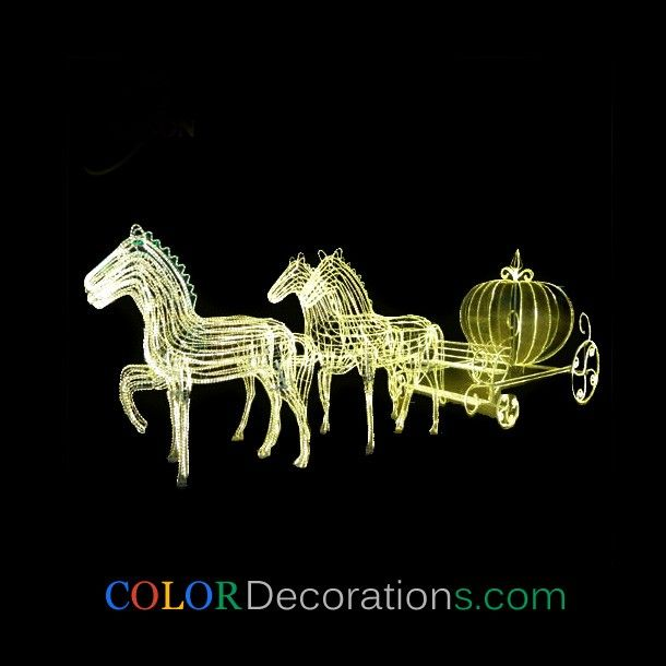 wholesale led light christmas horse carriage cinderella carriage sculptures decorations - Christmas Lighted Horse Carriage Outdoor Decoration