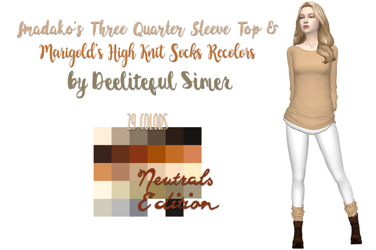 sims 4 mm cc maxis match three quarter length sleeve top and