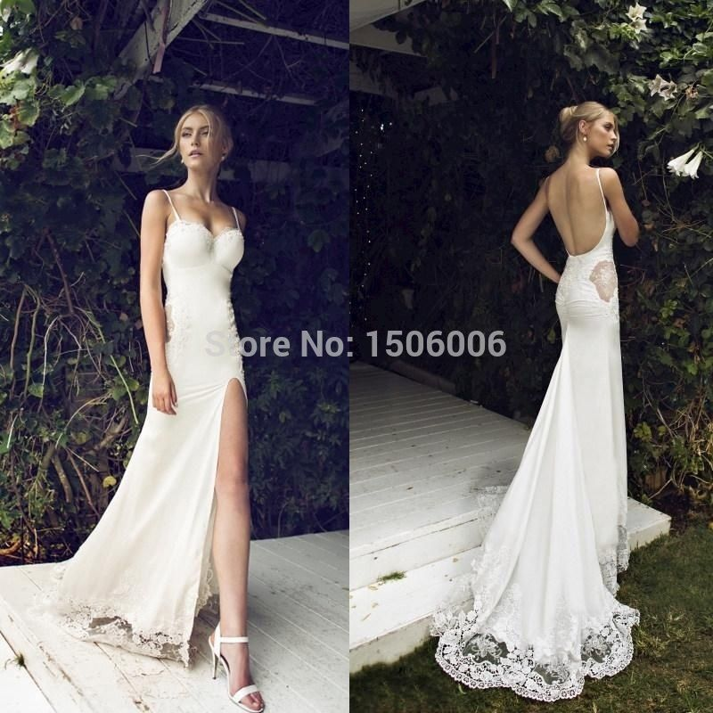 Beach 2015 High Slit Wedding Dresses Sexy Spaghetti Straps Flower Lace Appliques Side Cut Out