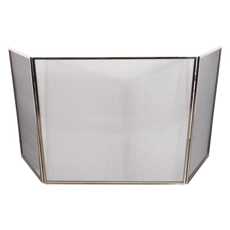 Custom Polished Nickel And Mesh Adjustable Three Panel Fire Screen