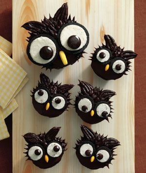 Owl Cupcakes - Start with a chocolate iced cupcake. Use 2 Oreo halves (cream-side up) and 2 Junior Mints for the eyes. Add a Runts banana for the beak (an almond would work as well).