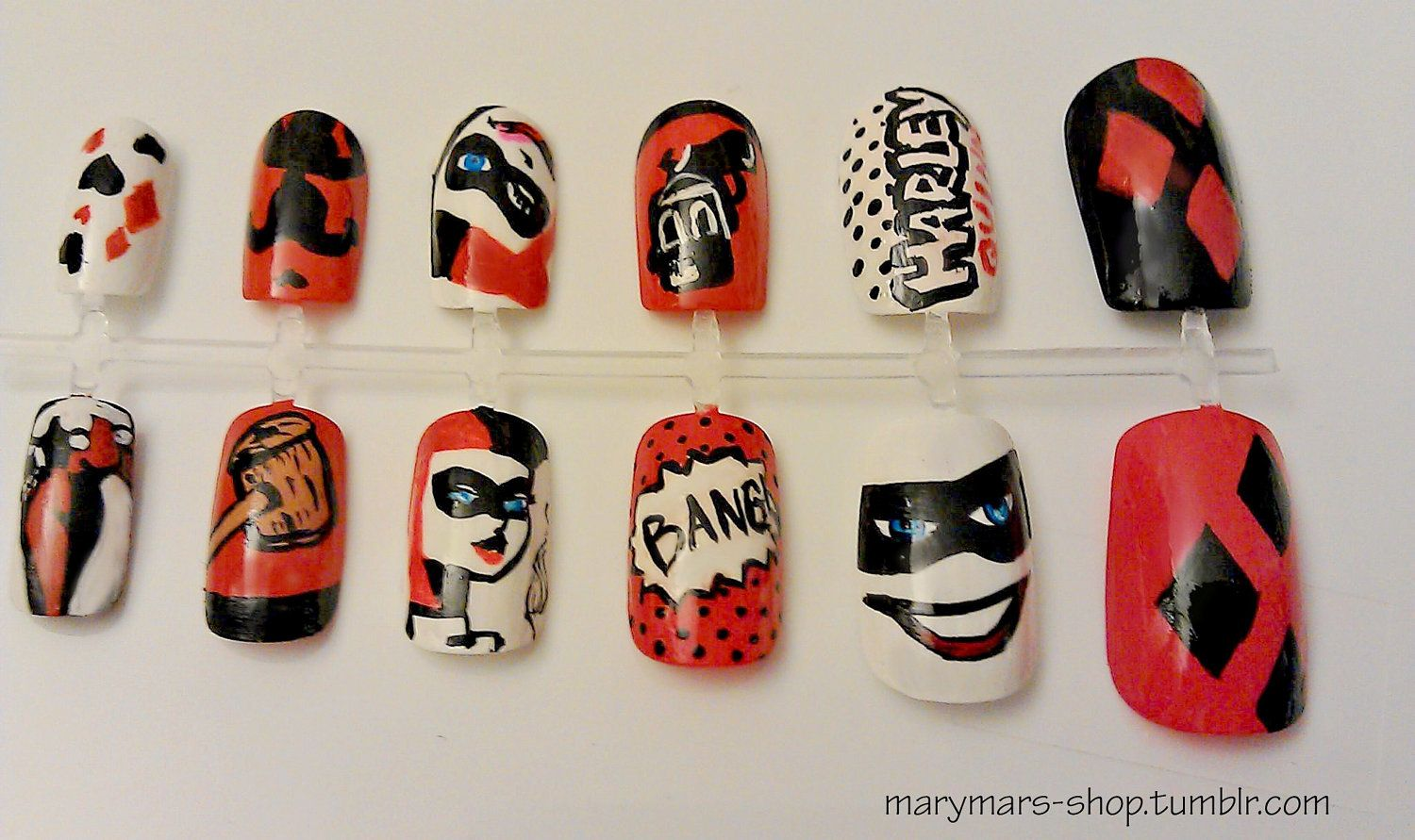 OMG! Villian Nails!!! Ahhh, this is a must have!! Harley Quinn Nail ...