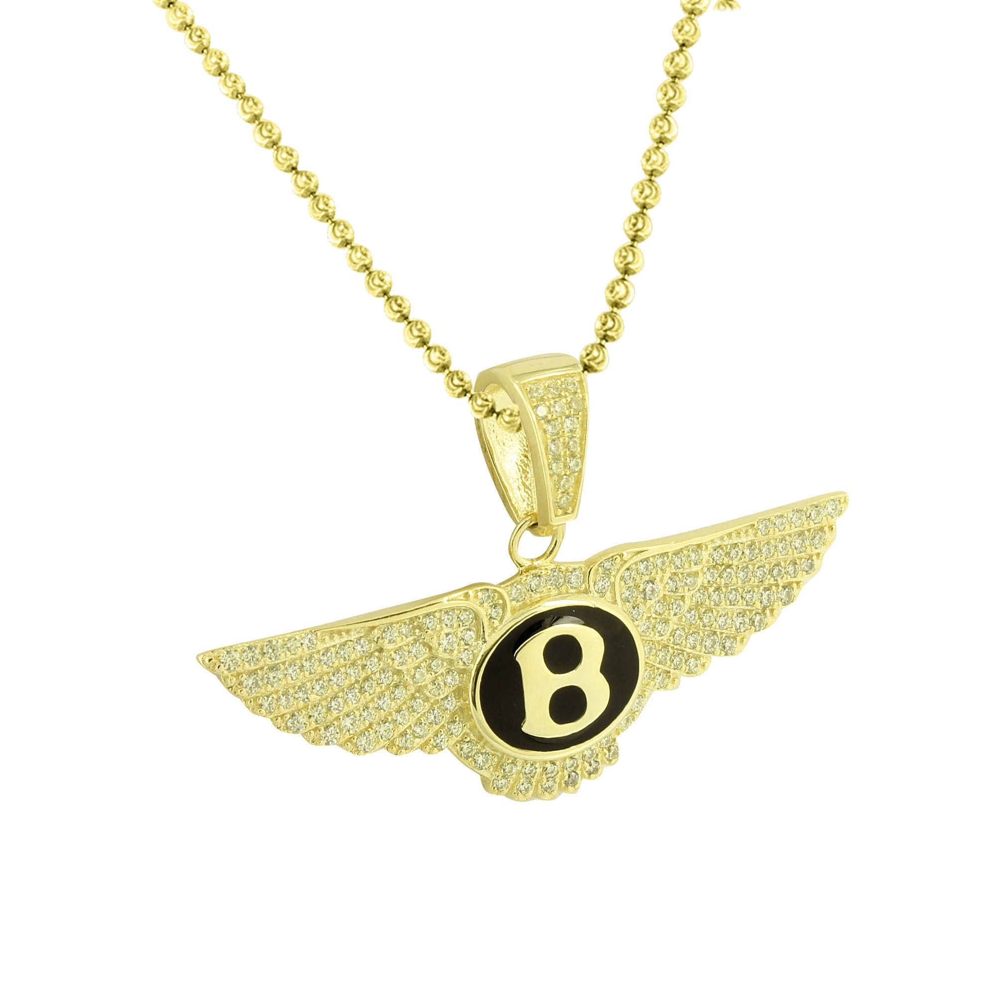 2539a46df52 Bentley Car Logo Pendant Chain Gold On Sterling Silver Yellow ...