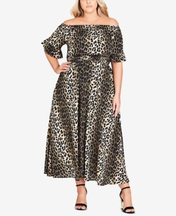 81b8e492e9ec City Chic Trendy Plus Size Animal-Print Off-The-Shoulder Maxi Dress - Animal  24W