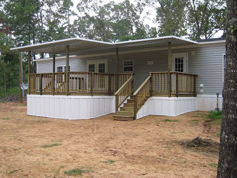Clean mobile home steps and decks exterior area summer Wide frontage house designs