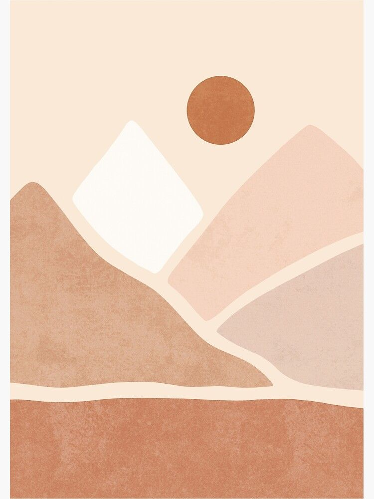 Abstract contemporary aesthetic background with geometric balance shapes boho wall decor mid century modern minimalist neutral art print organic shape. 'Neutral boho mountain sun' Metal Print by Miss-Belle ...