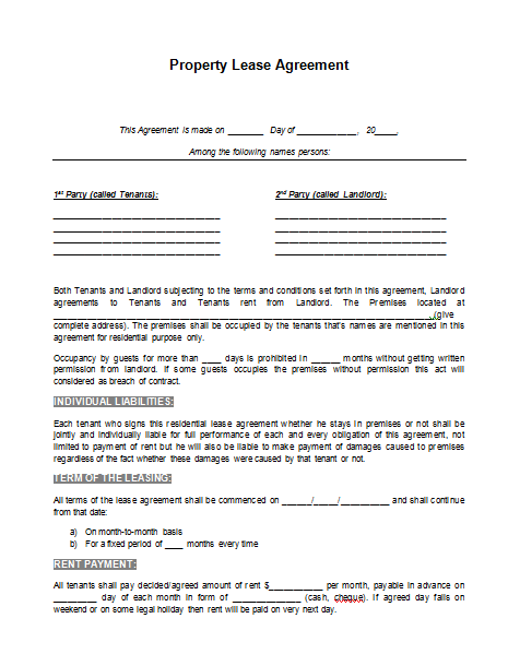 Printable Sample Rental Lease Agreement Template Form – Sample Blank Lease Agreement