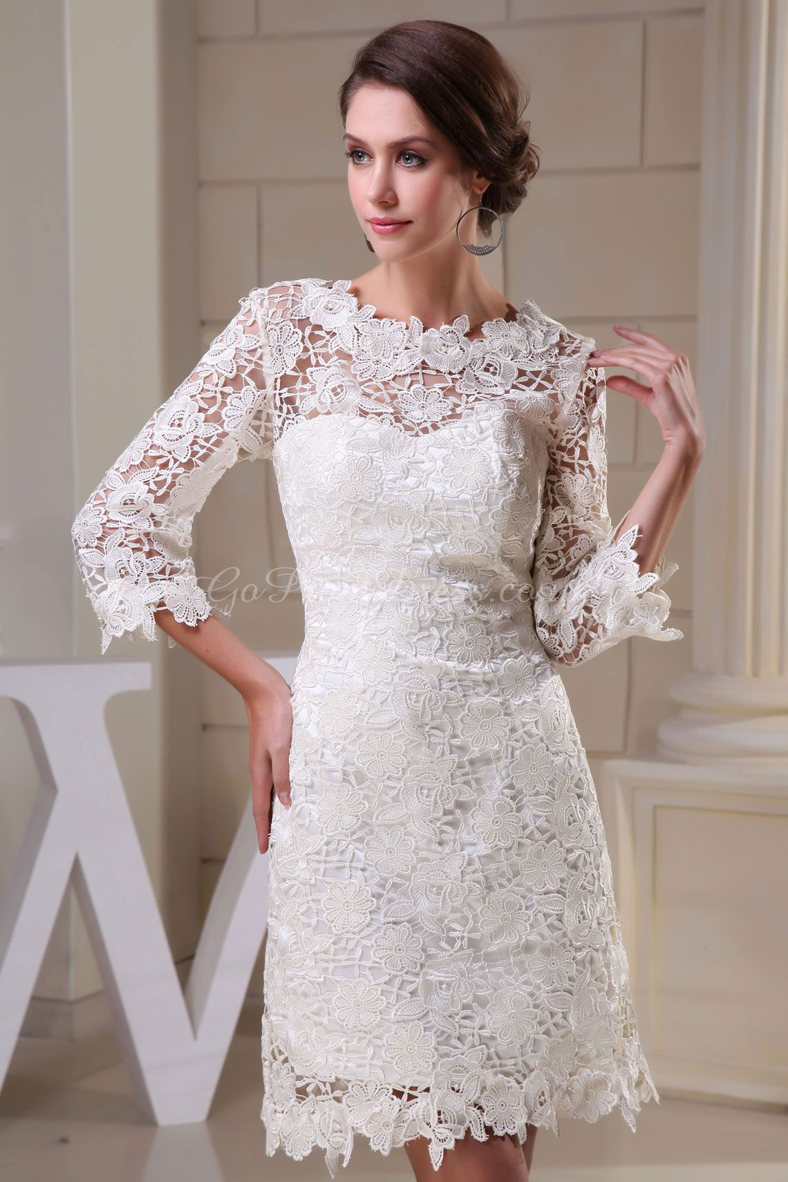 Mini white wedding dress  Sheath Lace Jewel Neck  Length Sleeve KneeLength White Wedding
