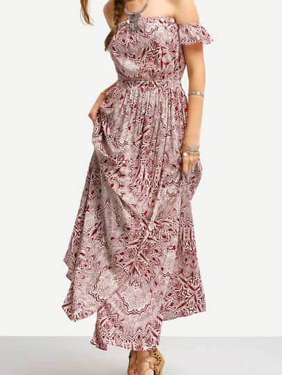 cf3a68049117 Shop Burgundy Print In White Off The Shoulder Maxi Dress online. SheIn  offers Burgundy Print In White Off The Shoulder Maxi Dress   more to fit  your ...