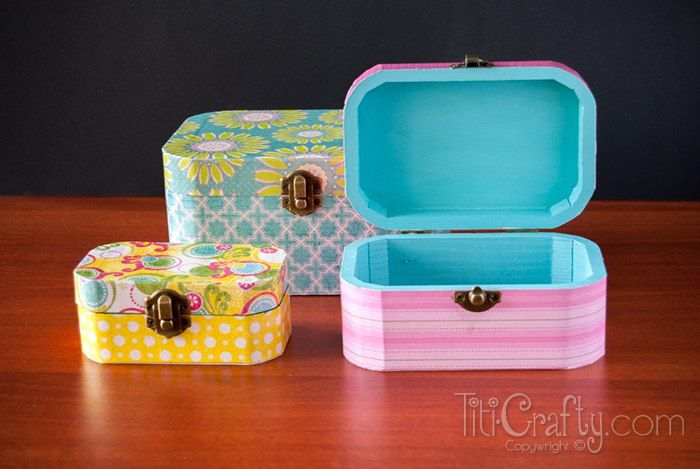 DIY Mod Podge Wooden Jewelry Boxes Wooden jewelry Diy mod podge