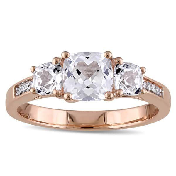 Miadora 10k Rose Gold Created White Sapphire And Diamond