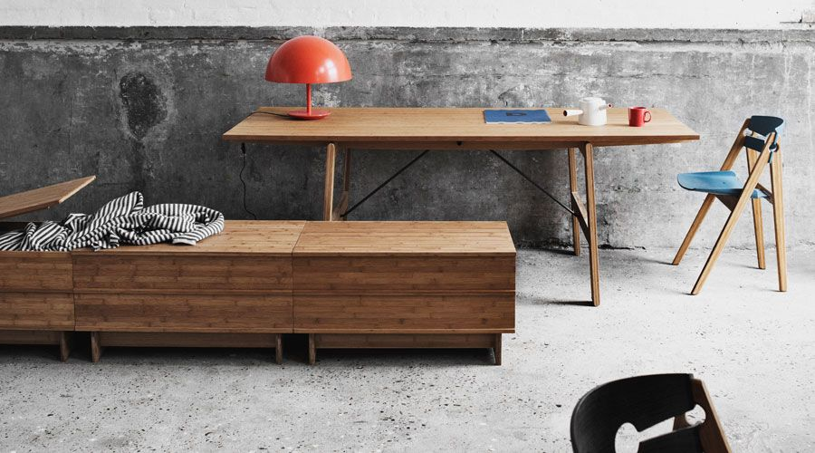 We Do Wood Geotable Esstisch, Stuhl und Sitzbank Correlation aus Bambus. Dänisches Design.